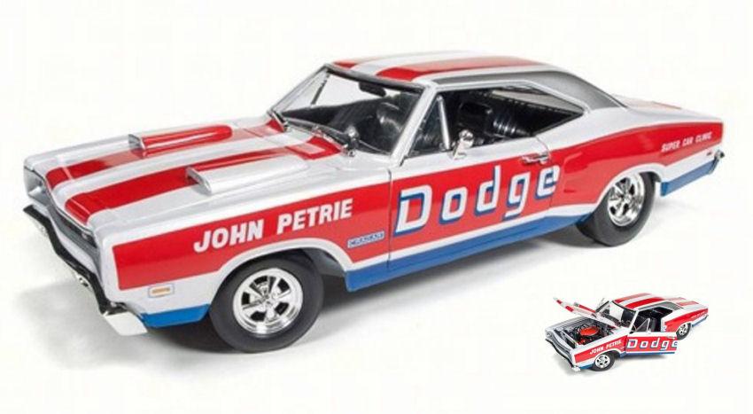Dodge Coronet Super Bee 1969  john Petrie SS/E  bianca rosso blu 1:18 Model AW222