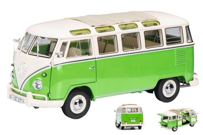 Volkswagen VW T1 Samba Green Green Green / White 1:18 Model 0286 SCHUCO | Une Performance Fiable  75dfb2